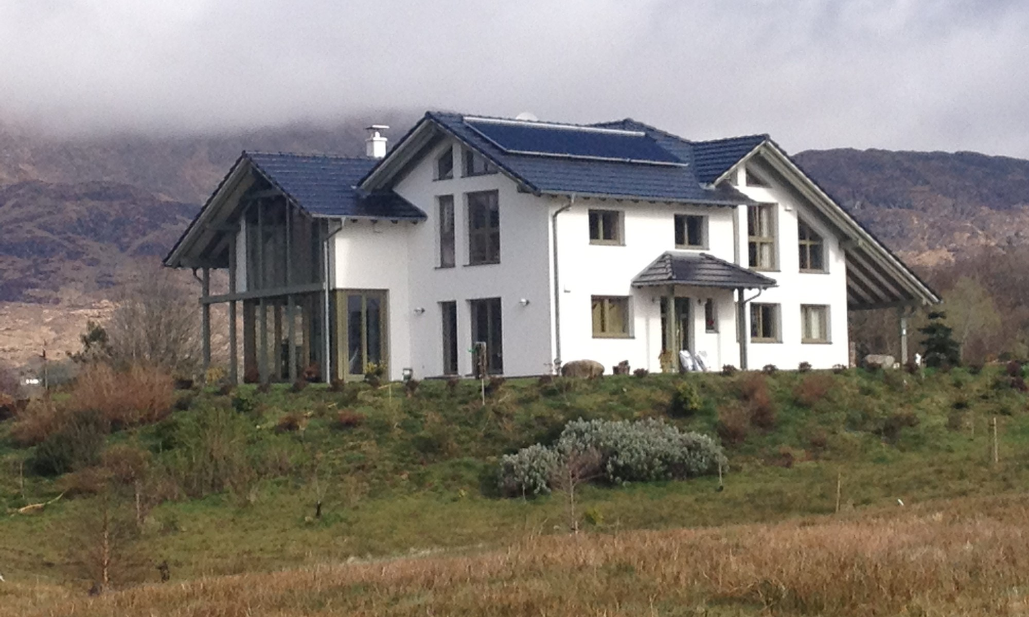 Luxurious, eco-friendly prefab home in rural Ireland, with large solar heating system