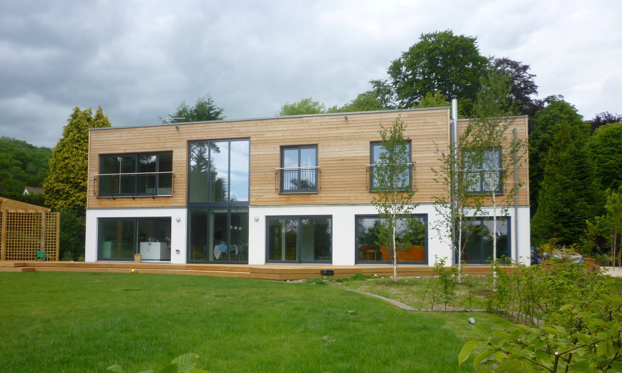 Energy-efficient prefab with wood burning stove and open plan ground floor, in Petersfield, Hampshire