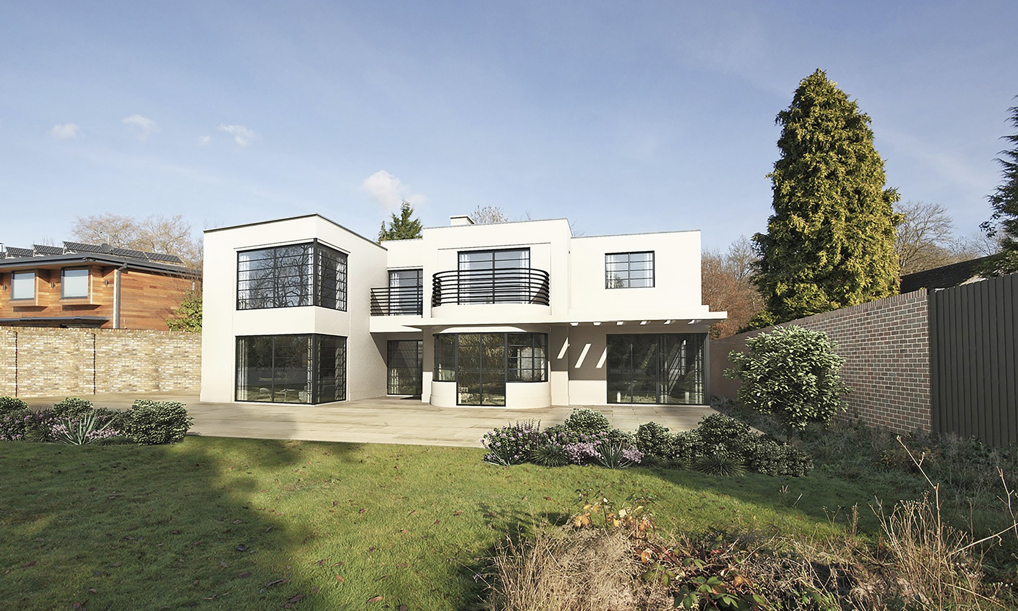 This striking art deco style timber frame house is one of weberhauss many modern prefabricated homes built to our clients specifications