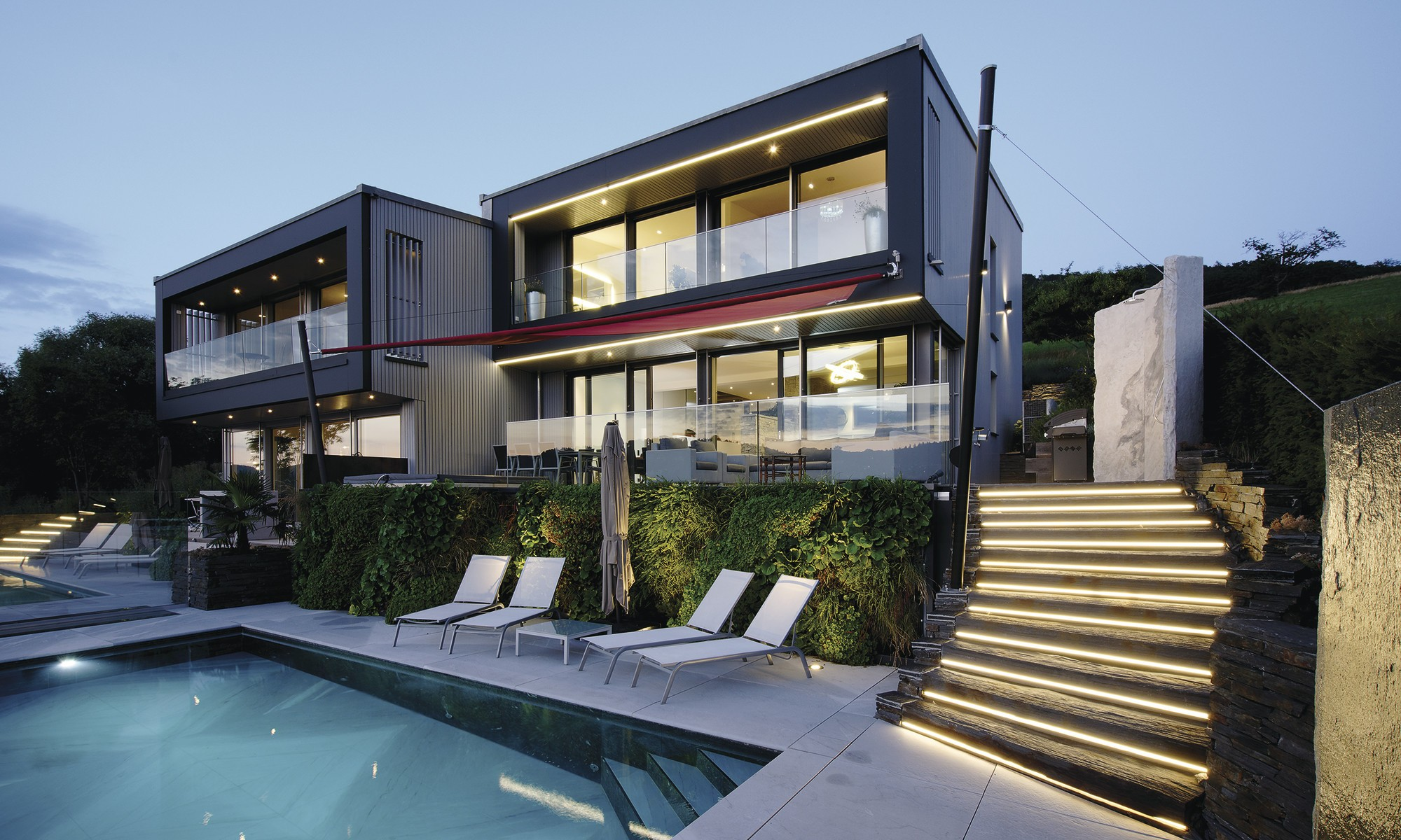 Modern hillside house
